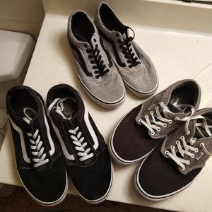 3 PAIR OF USED SIZE 12 MEN'S VANS SHOES